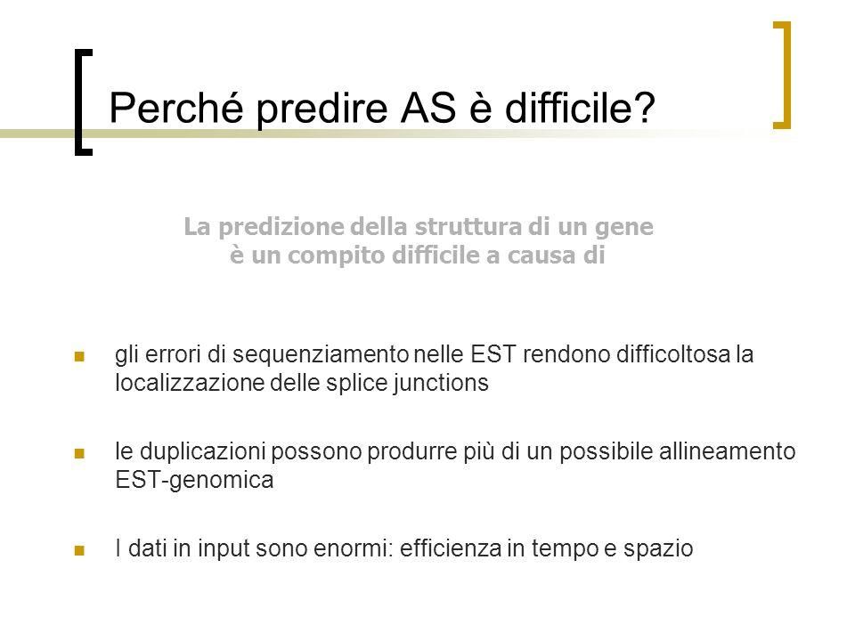 Perché predire AS è difficile? La predizione della struttura di un gene è un compito difficile a causa di gli errori di sequenziamento nelle EST rendo
