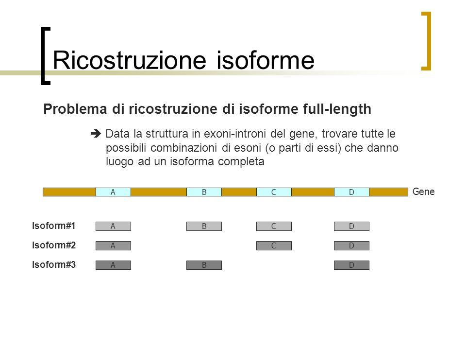 Ricostruzione isoforme Gene CDAB CDAB CDA DAB Isoform#1 Isoform#2 Isoform#3 Problema di ricostruzione di isoforme full-length Data la struttura in exo