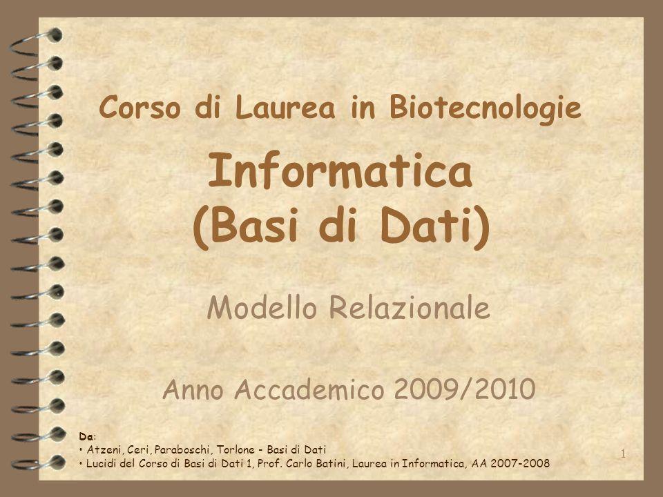 1 Corso di Laurea in Biotecnologie Informatica (Basi di Dati) Modello Relazionale Anno Accademico 2009/2010 Da: Atzeni, Ceri, Paraboschi, Torlone - Basi di Dati Lucidi del Corso di Basi di Dati 1, Prof.