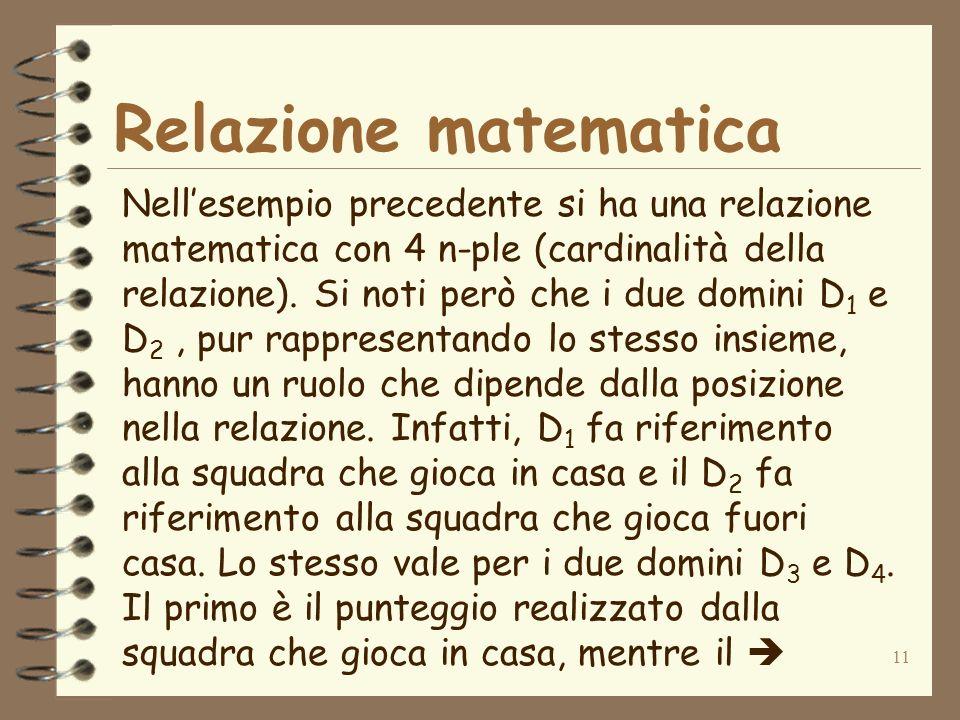11 Relazione matematica Nellesempio precedente si ha una relazione matematica con 4 n-ple (cardinalità della relazione).