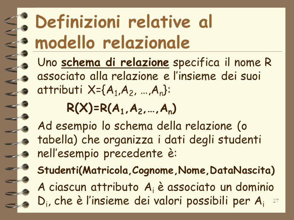27 Definizioni relative al modello relazionale Uno schema di relazione specifica il nome R associato alla relazione e linsieme dei suoi attributi X={A 1,A 2, …,A n }: R(X)= R(A 1,A 2,…,A n ) Ad esempio lo schema della relazione (o tabella) che organizza i dati degli studenti nellesempio precedente è: Studenti(Matricola,Cognome,Nome,DataNascita) A ciascun attributo A i è associato un dominio D i, che è linsieme dei valori possibili per A i