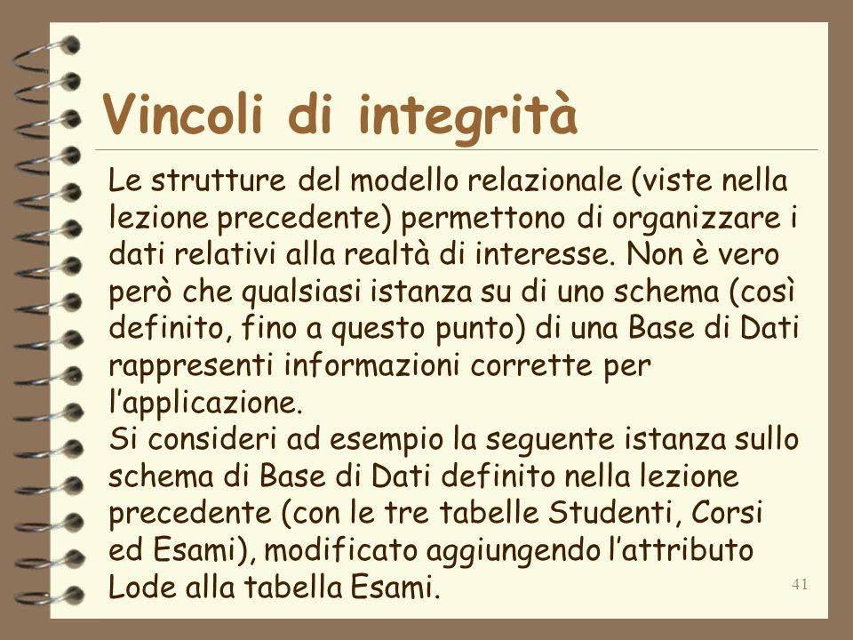 41 Vincoli di integrità Le strutture del modello relazionale (viste nella lezione precedente) permettono di organizzare i dati relativi alla realtà di interesse.