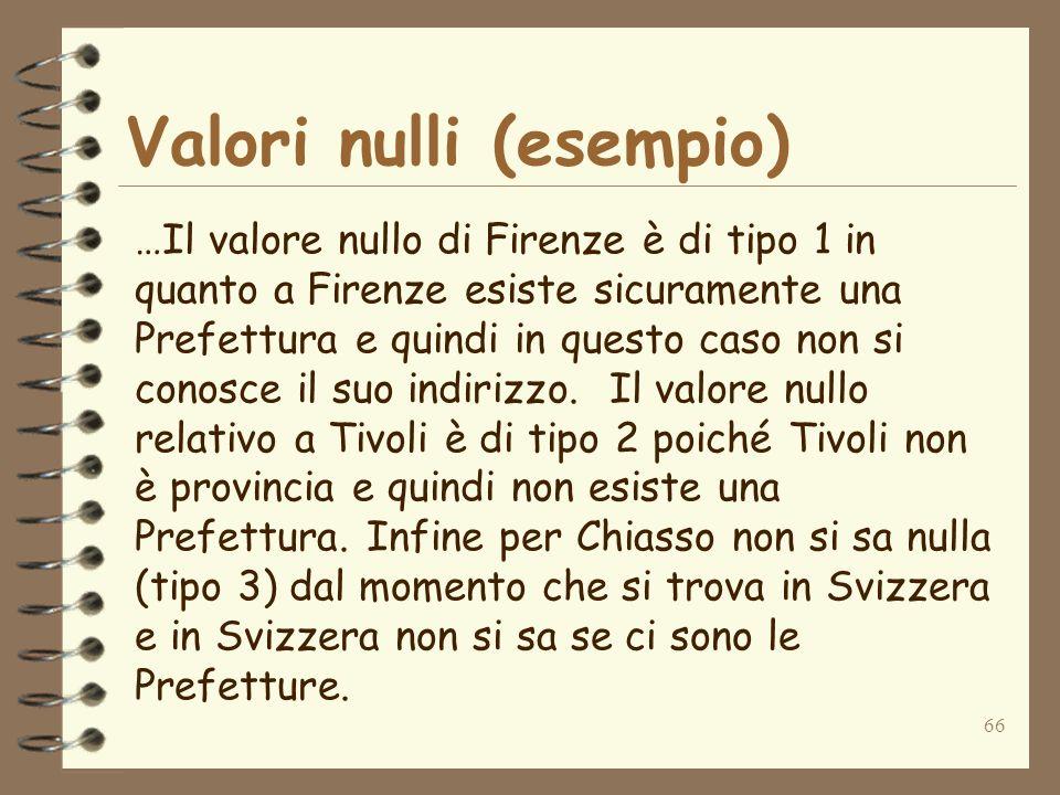 66 Valori nulli (esempio) …Il valore nullo di Firenze è di tipo 1 in quanto a Firenze esiste sicuramente una Prefettura e quindi in questo caso non si conosce il suo indirizzo.