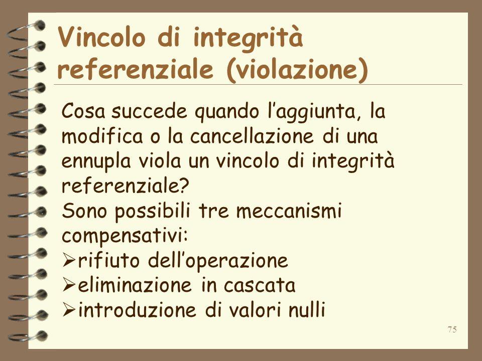 75 Vincolo di integrità referenziale (violazione) Cosa succede quando laggiunta, la modifica o la cancellazione di una ennupla viola un vincolo di integrità referenziale.