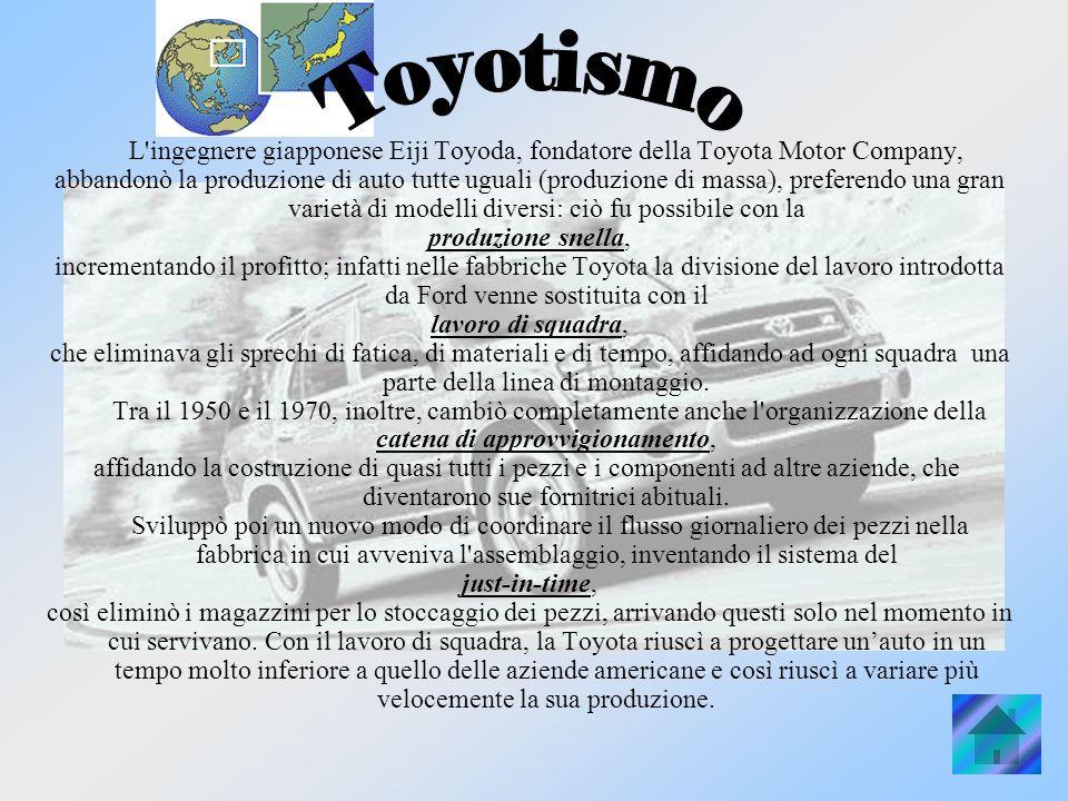 L ingegnere giapponese Eiji Toyoda, fondatore della Toyota Motor Company, abbandonò la produzione di auto tutte uguali (produzione di massa), preferendo una gran varietà di modelli diversi: ciò fu possibile con la produzione snella, incrementando il profitto; infatti nelle fabbriche Toyota la divisione del lavoro introdotta da Ford venne sostituita con il lavoro di squadra, che eliminava gli sprechi di fatica, di materiali e di tempo, affidando ad ogni squadra una parte della linea di montaggio.