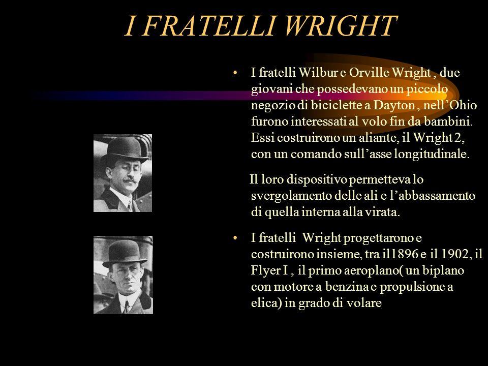 I FRATELLI WRIGHT I fratelli Wilbur e Orville Wright, due giovani che possedevano un piccolo negozio di biciclette a Dayton, nellOhio furono interessa