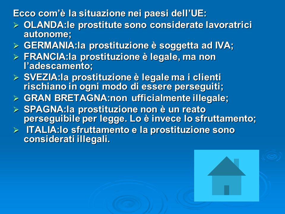 Ecco comè la situazione nei paesi dellUE: OLANDA:le prostitute sono considerate lavoratrici autonome; OLANDA:le prostitute sono considerate lavoratric