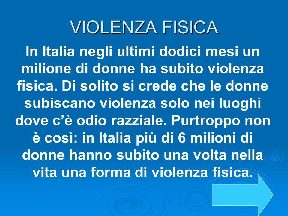 VIOLENZA FISICA In Italia negli ultimi dodici mesi un milione di donne ha subito violenza fisica. Di solito si crede che le donne subiscano violenza s