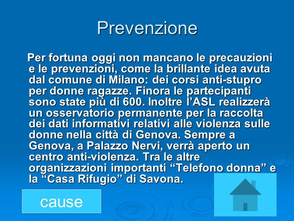 Prevenzione Per fortuna oggi non mancano le precauzioni e le prevenzioni, come la brillante idea avuta dal comune di Milano: dei corsi anti-stupro per
