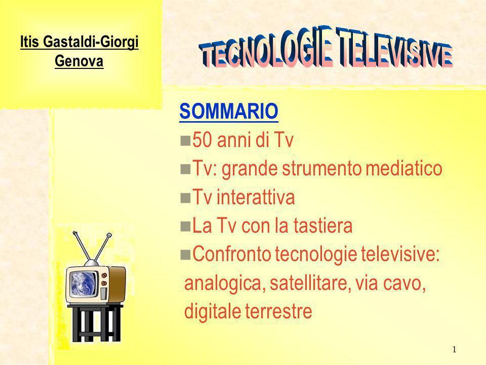 1 Itis Gastaldi-Giorgi Genova SOMMARIO 50 anni di Tv Tv: grande strumento mediatico Tv interattiva La Tv con la tastiera Confronto tecnologie televisive: analogica, satellitare, via cavo, digitale terrestre