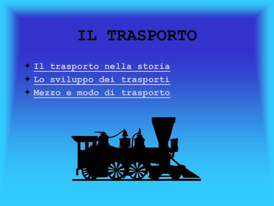 IL TRASPORTO Il trasporto nella storia Il trasporto nella storia Lo sviluppo dei trasporti Mezzo e modo di trasporto
