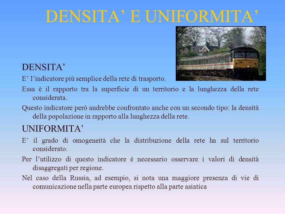DENSITA E UNIFORMITA DENSITA E lindicatore più semplice della rete di trasporto.