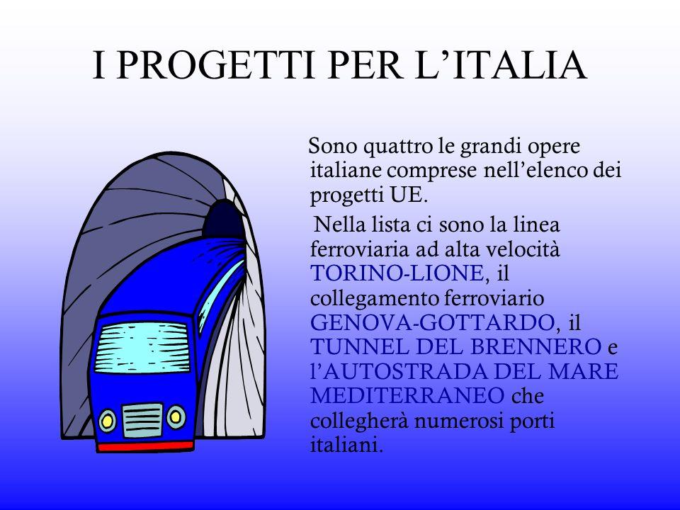 Sono quattro le grandi opere italiane comprese nellelenco dei progetti UE. Nella lista ci sono la linea ferroviaria ad alta velocità TORINO-LIONE, il