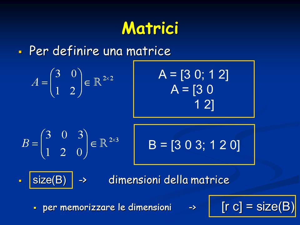 Matrici Per definire una matrice Per definire una matrice A = [3 0; 1 2] A = [3 0 1 2] B = [3 0 3; 1 2 0] size(B) ->dimensioni della matrice size(B) ->dimensioni della matrice per memorizzare le dimensioni -> per memorizzare le dimensioni -> [r c] = size(B)