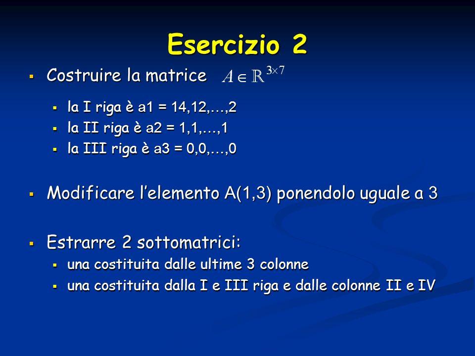 Esercizio 2 Costruire la matrice Costruire la matrice la I riga è a1 = 14,12,…,2 la I riga è a1 = 14,12,…,2 la II riga è a2 = 1,1,…,1 la II riga è a2 = 1,1,…,1 la III riga è a3 = 0,0,…,0 la III riga è a3 = 0,0,…,0 Modificare lelemento A(1,3) ponendolo uguale a 3 Modificare lelemento A(1,3) ponendolo uguale a 3 Estrarre 2 sottomatrici: Estrarre 2 sottomatrici: una costituita dalle ultime 3 colonne una costituita dalle ultime 3 colonne una costituita dalla I e III riga e dalle colonne II e IV una costituita dalla I e III riga e dalle colonne II e IV