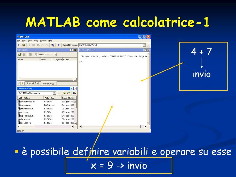 MATLAB come calcolatrice-1 è possibile definire variabili e operare su esse x = 9 -> invio 4 + 7 invio