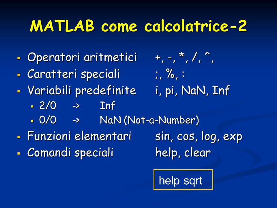 MATLAB come calcolatrice-2 Operatori aritmetici+, -, *, /, ^, Operatori aritmetici+, -, *, /, ^, Caratteri speciali ;, %, : Caratteri speciali ;, %, : Variabili predefinitei, pi, NaN, Inf Variabili predefinitei, pi, NaN, Inf 2/0->Inf 2/0->Inf 0/0->NaN (Not-a-Number) 0/0->NaN (Not-a-Number) Funzioni elementarisin, cos, log, exp Funzioni elementarisin, cos, log, exp Comandi speciali help, clear Comandi speciali help, clear help sqrt