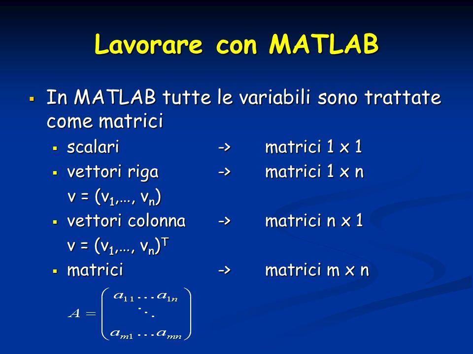 Lavorare con MATLAB In MATLAB tutte le variabili sono trattate come matrici In MATLAB tutte le variabili sono trattate come matrici scalari->matrici 1 x 1 scalari->matrici 1 x 1 vettori riga->matrici 1 x n vettori riga->matrici 1 x n v = (v 1,…, v n ) v = (v 1,…, v n ) vettori colonna->matrici n x 1 vettori colonna->matrici n x 1 v = (v 1,…, v n ) T matrici-> matrici m x n matrici-> matrici m x n