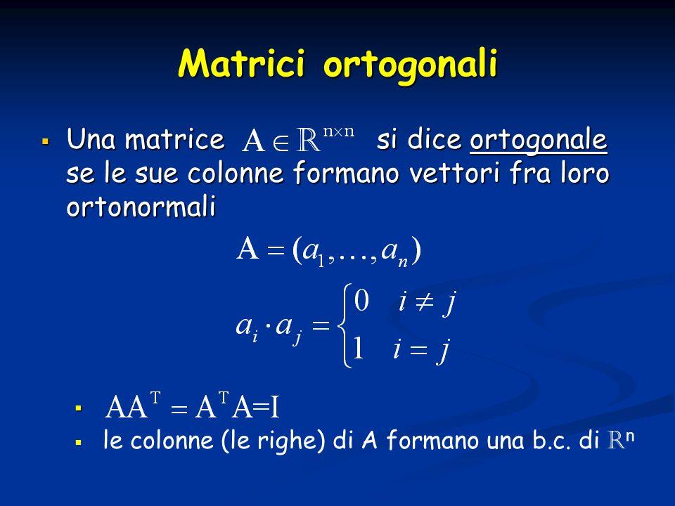 Matrici ortogonali Una matrice si dice ortogonale se le sue colonne formano vettori fra loro ortonormali Una matrice si dice ortogonale se le sue colo