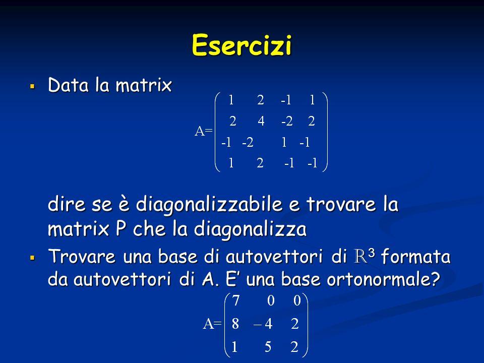 Esercizi Data la matrix Data la matrix dire se è diagonalizzabile e trovare la matrix P che la diagonalizza Trovare una base di autovettori di R 3 for