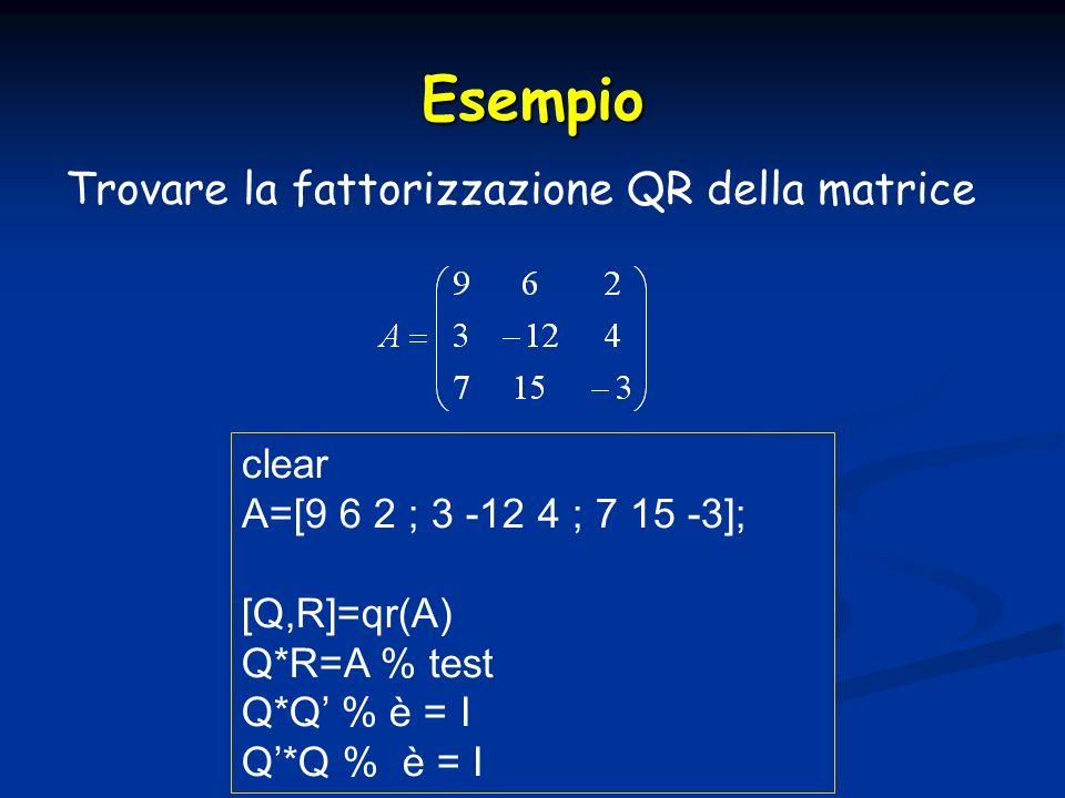 Esempio Trovare la fattorizzazione QR della matrice clear A=[9 6 2 ; 3 -12 4 ; 7 15 -3]; [Q,R]=qr(A) Q*R=A % test Q*Q % è = I