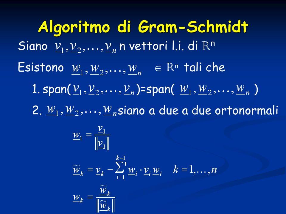 Algoritmo di Gram-Schmidt Siano n vettori l.i. di R n Esistono R n tali che 1.span( )=span( ) 2. siano a due a due ortonormali