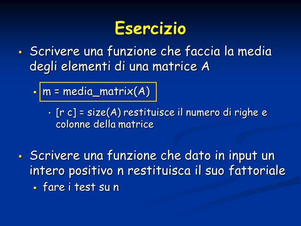 Esercizio Scrivere una funzione che faccia la media degli elementi di una matrice A Scrivere una funzione che faccia la media degli elementi di una ma