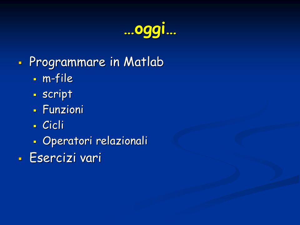 …oggi… Programmare in Matlab Programmare in Matlab m-file m-file script script Funzioni Funzioni Cicli Cicli Operatori relazionali Operatori relazionali Esercizi vari Esercizi vari