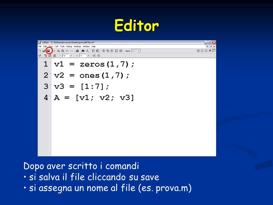 Script e funzioni Script Script parametri in ingresso nn modificabili parametri in ingresso nn modificabili le variabili usate sono messe nella memoria di lavoro di MATLAB le variabili usate sono messe nella memoria di lavoro di MATLAB Funzioni Funzioni script al quale si possono passare parametri in ingresso ed ottenerne in uscita script al quale si possono passare parametri in ingresso ed ottenerne in uscita sintassi sintassi y1,…,yn -> parametri in uscita y1,…,yn -> parametri in uscita x1,…,xn –> parametri in entrata x1,…,xn –> parametri in entrata le variabili usate allinterno sono locali le variabili usate allinterno sono locali function [y1,…,yn] = nome_funzione(x1,…,xn)