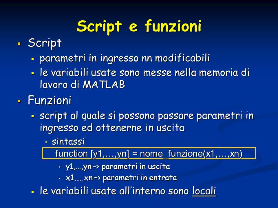 Script e funzioni Script Script parametri in ingresso nn modificabili parametri in ingresso nn modificabili le variabili usate sono messe nella memori