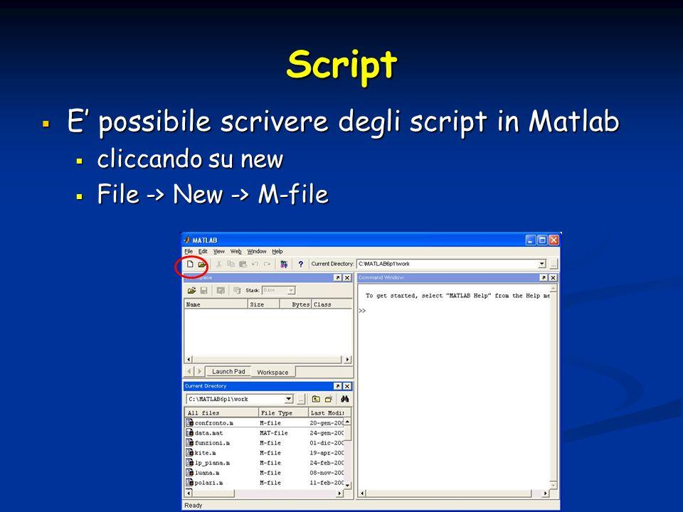 Script E possibile scrivere degli script in Matlab E possibile scrivere degli script in Matlab cliccando su new cliccando su new File -> New -> M-file