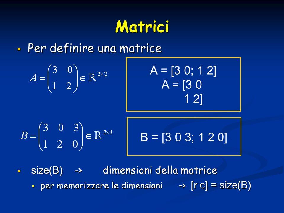 Matrici Per definire una matrice Per definire una matrice A = [3 0; 1 2] A = [3 0 1 2] B = [3 0 3; 1 2 0] size(B) ->dimensioni della matrice size(B) ->dimensioni della matrice per memorizzare le dimensioni -> [r c] = size(B) per memorizzare le dimensioni -> [r c] = size(B)