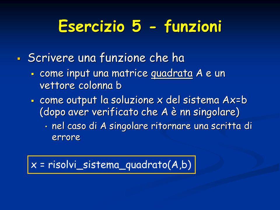 Esercizio 5 - funzioni Scrivere una funzione che ha Scrivere una funzione che ha come input una matrice quadrata A e un vettore colonna b come input u