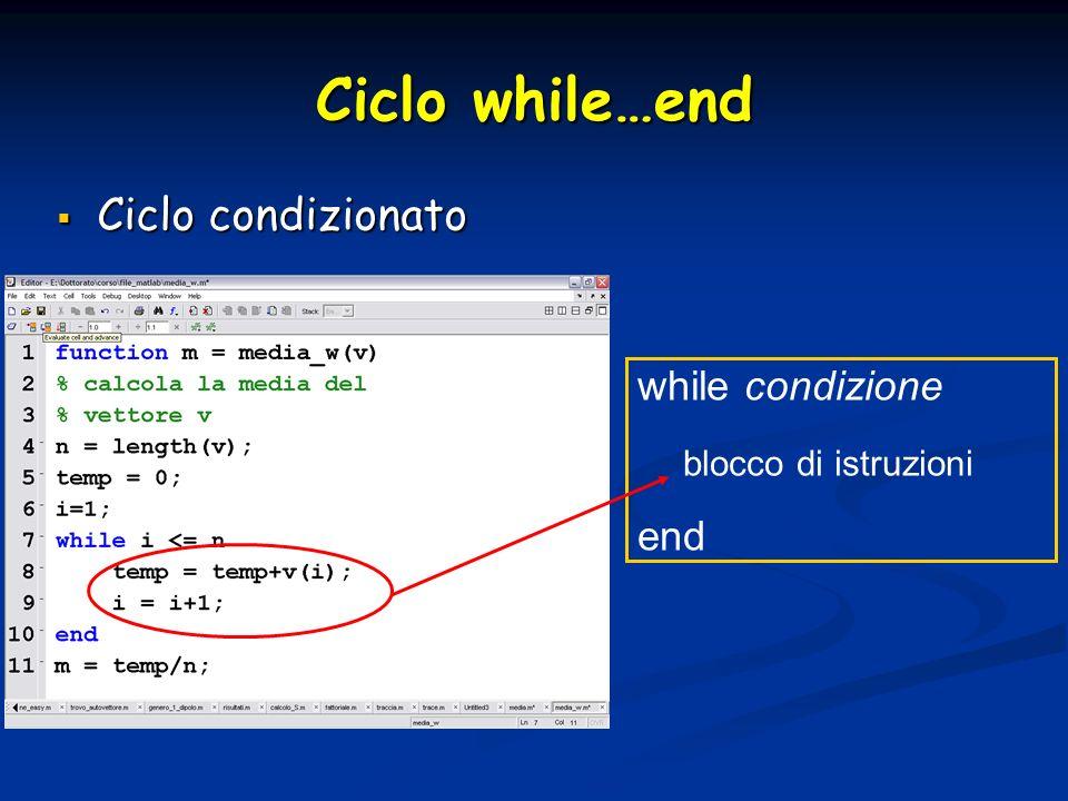 Ciclo while…end Ciclo condizionato Ciclo condizionato while condizione blocco di istruzioni end