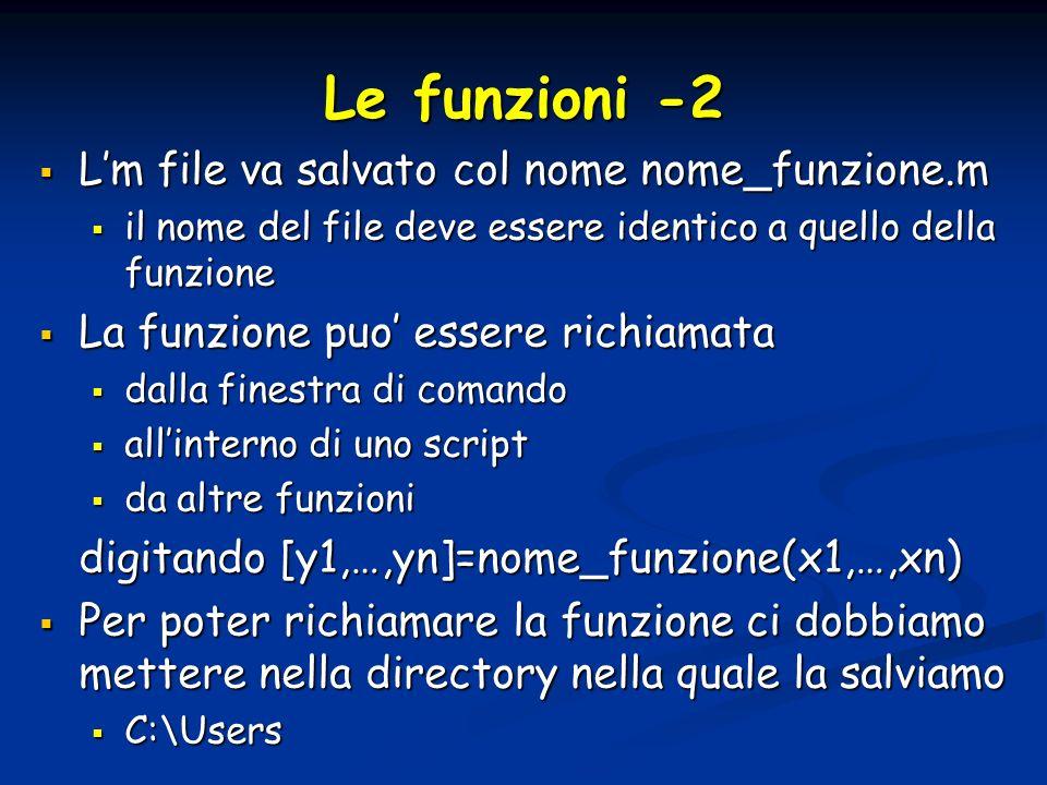Le funzioni -2 Lm file va salvato col nome nome_funzione.m Lm file va salvato col nome nome_funzione.m il nome del file deve essere identico a quello