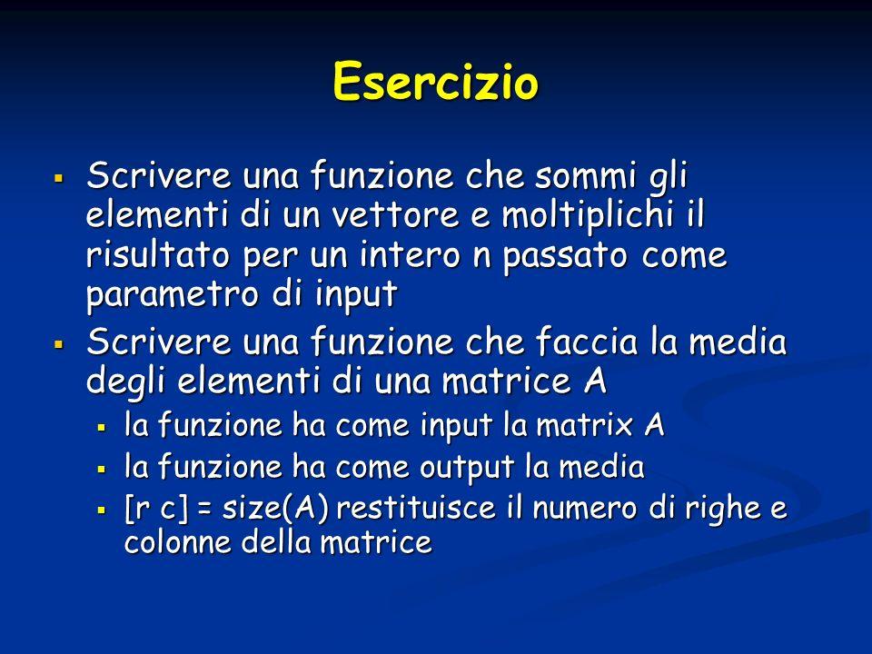 Esercizio Scrivere una funzione che sommi gli elementi di un vettore e moltiplichi il risultato per un intero n passato come parametro di input Scrive