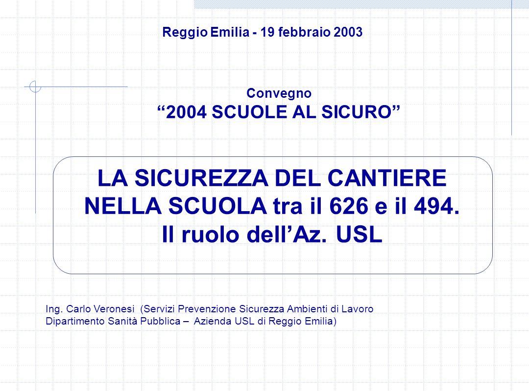 Il Piano di Emergenza Interno e sue modifiche a causa del cantiere deve essere illustrato al personale docente e non docente e agli studenti a cura del Dirigente Scolastico o del RSPP La parte di Piano di Emergenza che coinvolge le imprese e i lavoratori autonomi deve essere loro illustrato a cura del Coordinatore per lEsecuzione dei lavori 2004 SCUOLE AL SICURO Reggio Emilia - 19 febbraio 2003 La Sicurezza del Cantiere nella Scuola tra il 626 e il 494.