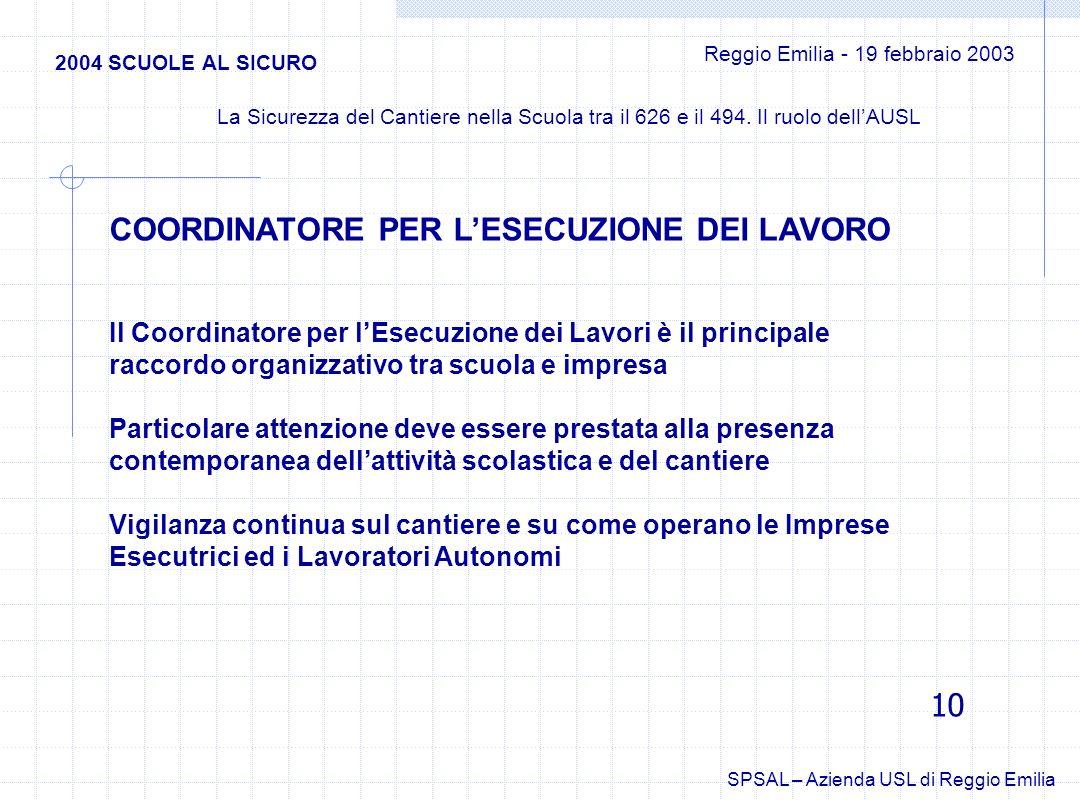 Il Coordinatore per lEsecuzione dei Lavori è il principale raccordo organizzativo tra scuola e impresa Particolare attenzione deve essere prestata all