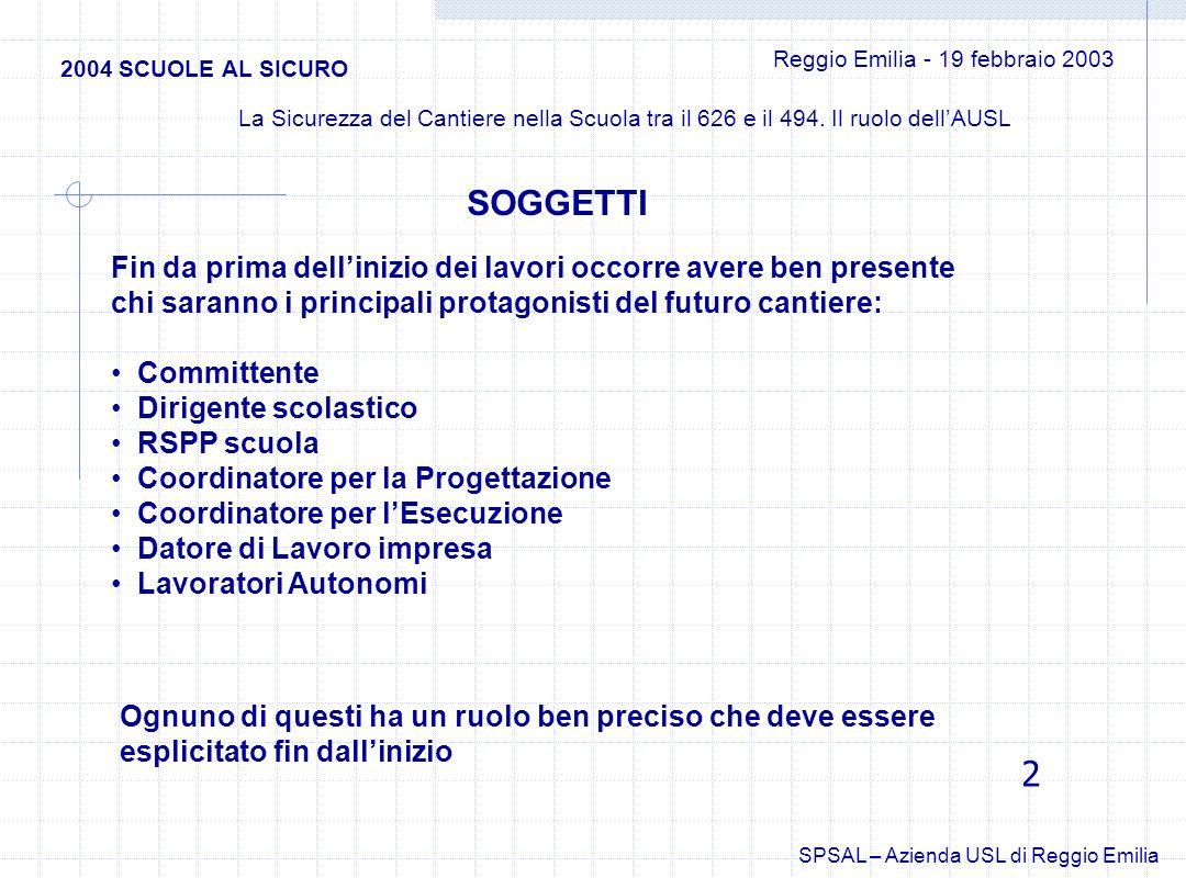 2004 SCUOLE AL SICURO Reggio Emilia - 19 febbraio 2003 La Sicurezza del Cantiere nella Scuola tra il 626 e il 494.