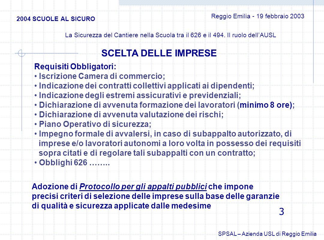 Azienda Unità Sanitaria Locale di Reggio Emilia Azienda Unità Sanitaria Locale di Reggio Emilia Dipartimento di Sanità Pubblica Dipartimento di Sanità Pubblica SERVIZI PREVENZIONE SICUREZZA AMBIENTI DI LAVORO Tel.