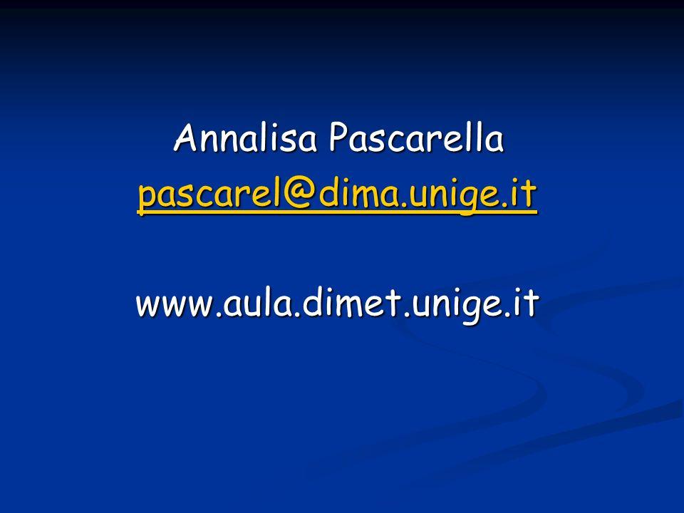 Annalisa Pascarella pascarel@dima.unige.it www.aula.dimet.unige.it