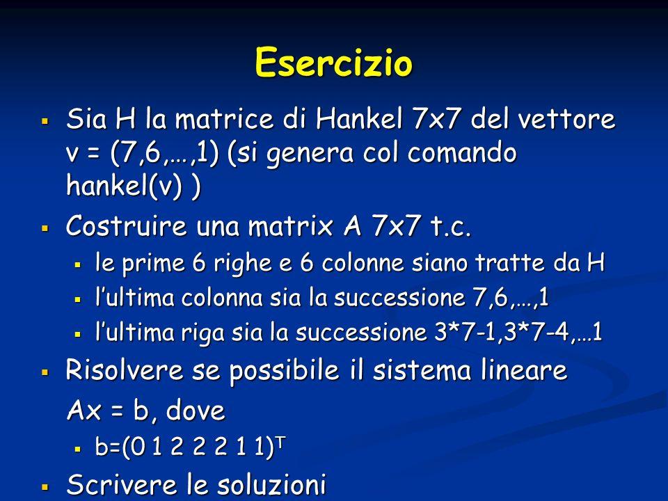 Esercizio Sia H la matrice di Hankel 7x7 del vettore v = (7,6,…,1) (si genera col comando hankel(v) ) Sia H la matrice di Hankel 7x7 del vettore v = (