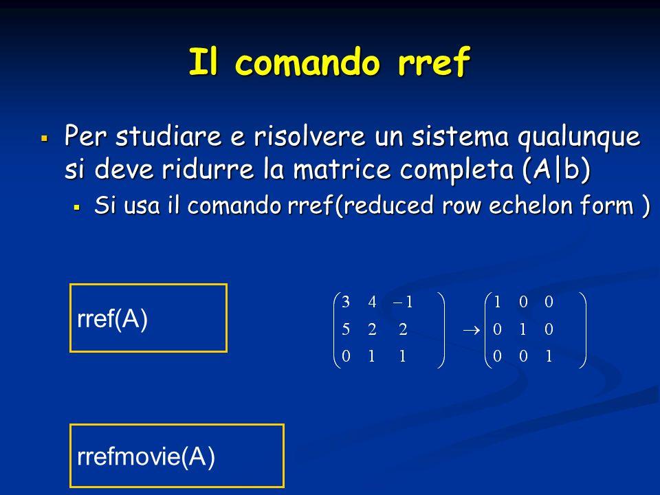 Il comando rref Per studiare e risolvere un sistema qualunque si deve ridurre la matrice completa (A b) Per studiare e risolvere un sistema qualunque