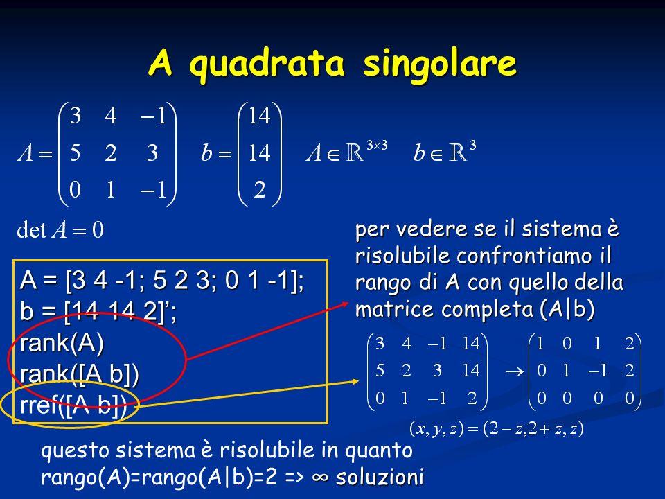 A quadrata singolare A = [3 4 -1; 5 2 3; 0 1 -1]; b = [14 14 2]; rank(A) rank([A b]) rref([A b]) per vedere se il sistema è risolubile confrontiamo il