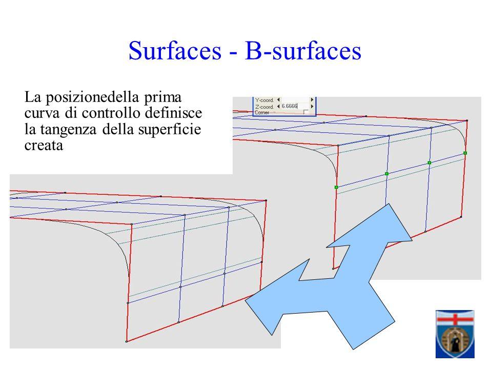La posizionedella prima curva di controllo definisce la tangenza della superficie creata