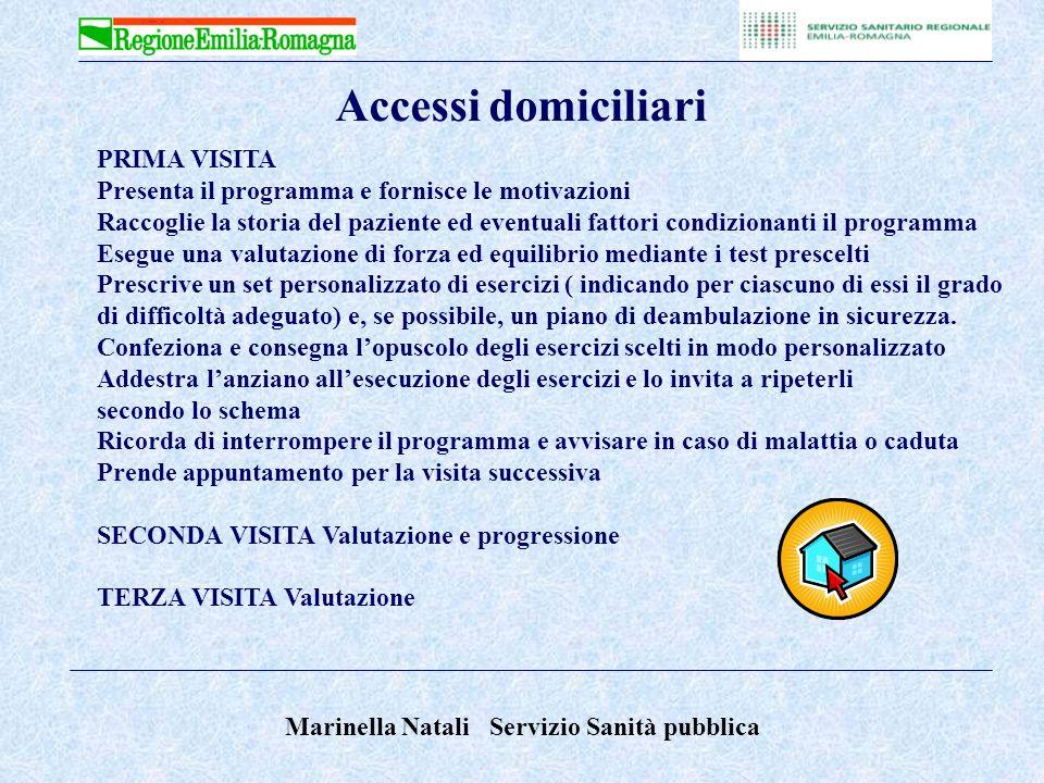 Marinella Natali Servizio Sanità pubblica 1° TEST : Alzarsi dalla sedia Chair stand test 2°TEST : Prove dellequilibrio su scala (da 1 a 4) Four test balance scale VALUTAZIONE