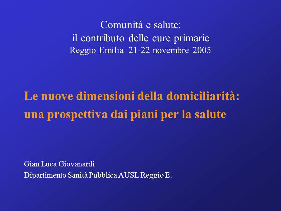Comunità e salute: il contributo delle cure primarie Reggio Emilia 21-22 novembre 2005 Le nuove dimensioni della domiciliarità: una prospettiva dai pi