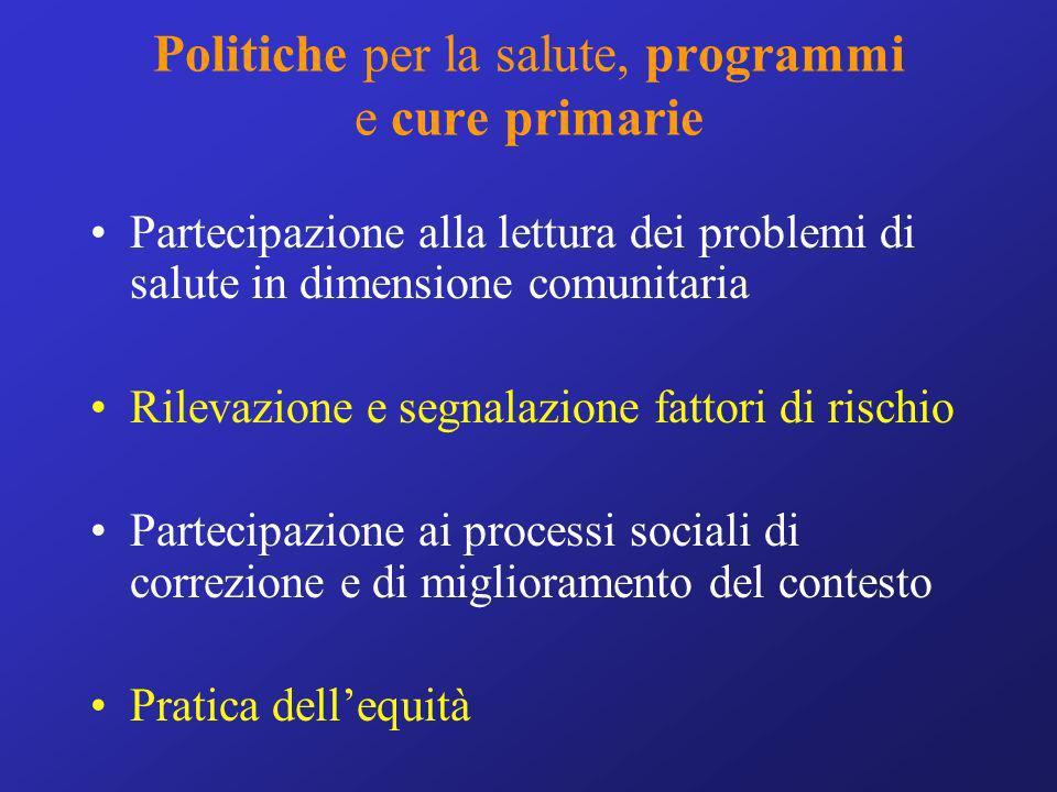 Politiche per la salute, programmi e cure primarie Partecipazione alla lettura dei problemi di salute in dimensione comunitaria Rilevazione e segnalaz