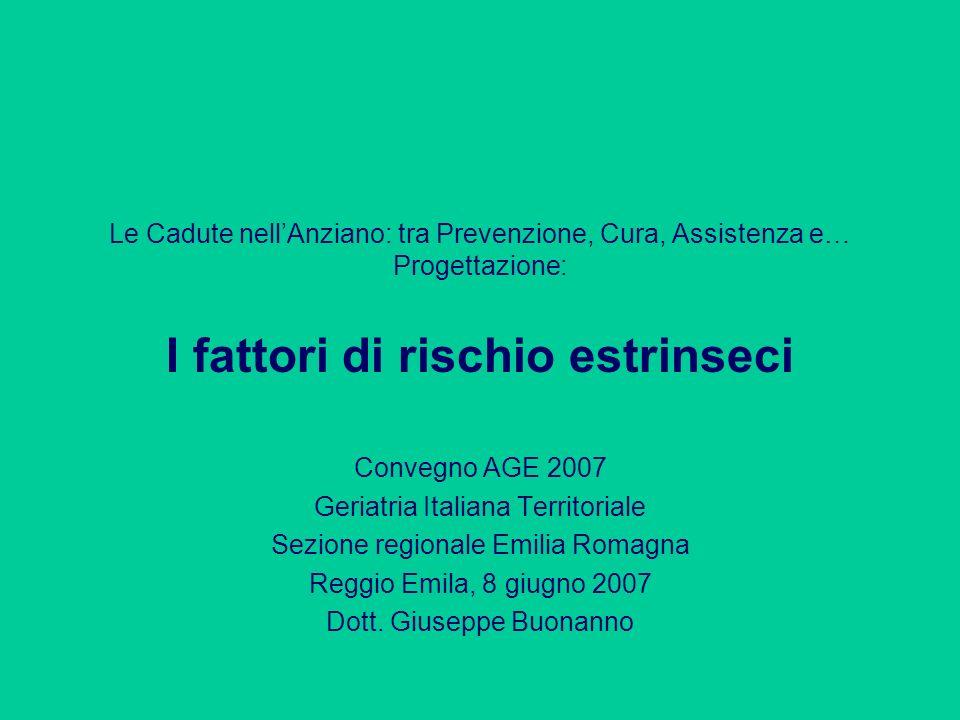 Le Cadute nellAnziano: tra Prevenzione, Cura, Assistenza e… Progettazione: I fattori di rischio estrinseci Convegno AGE 2007 Geriatria Italiana Territ