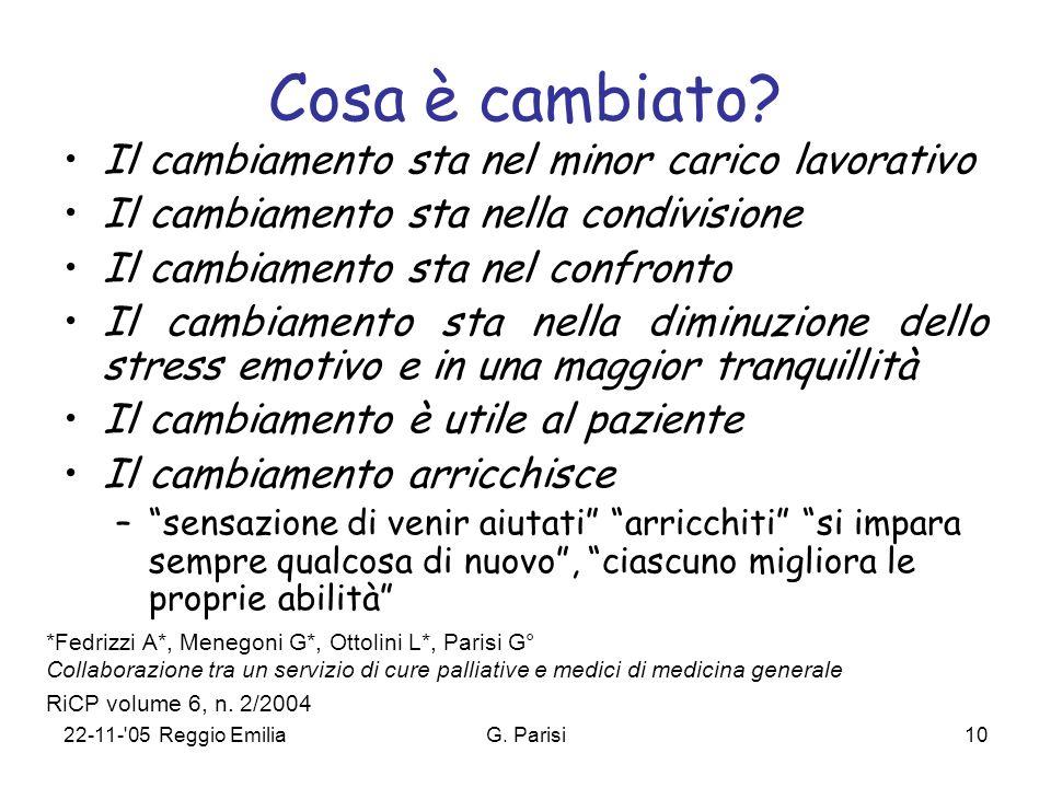 22-11- 05 Reggio EmiliaG. Parisi10 Cosa è cambiato.